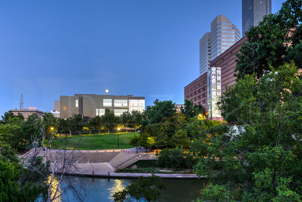 Full moon over the Ballet Center  130622_0186_6DZ1237_PMHDR.tif  Houston Commercial Architectural Photographer Dee Zunker