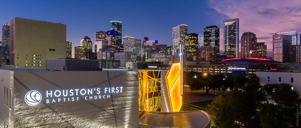"""Houston First Baptist Church Downtown at Twilight """" Photography by Houston Drone Photographer Dee Zunker """" Lighting by Ecosense """" Lighting Design by Gandy Lighting """" Archtiect Kirksey Architects  20180925-HoustonFirstBaptistDowntown-002.psd  Houston Commercial Architectural Photographer Dee Zunker"""