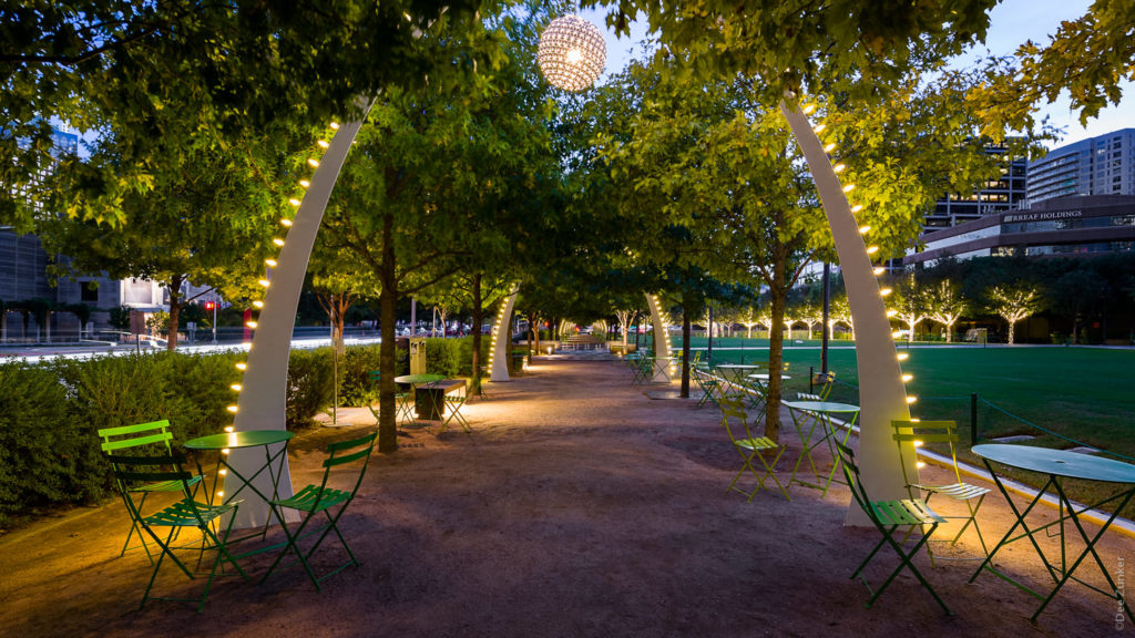 Arches in Kyle Warren Park at Night  201810-GoGriddy-012.psd  Houston Commercial Architectural Photographer Dee Zunker