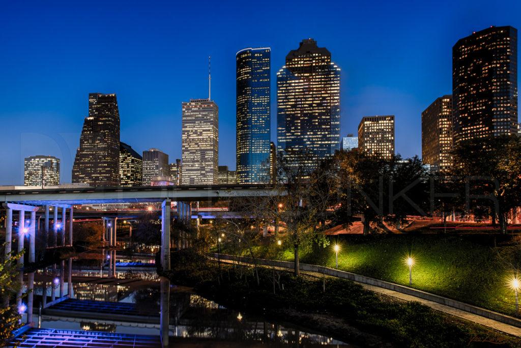 Houston Commercial Photographer - Blue Hour on Buffalo Bayou  BlueHourOnBuffaloBayou_Zunker_2013_Signature.psd  Houston Commercial Architectural Photographer Dee Zunker