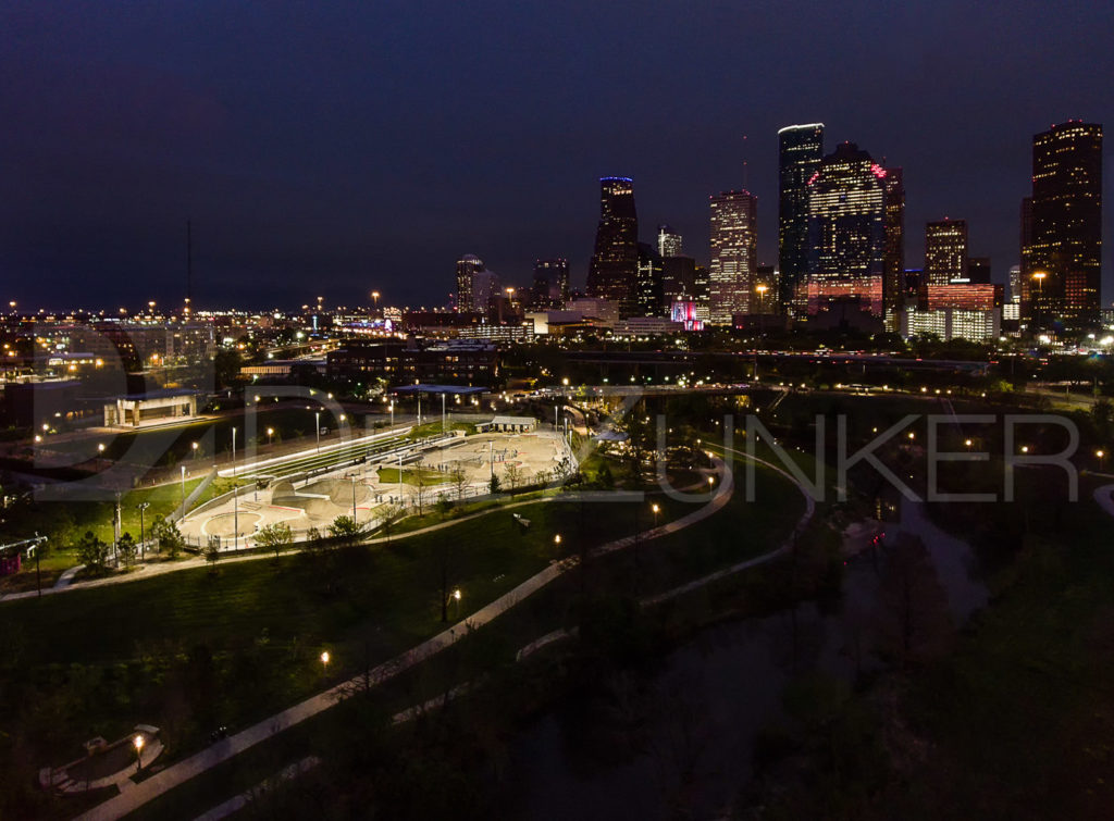 "Downtown Houston and Jamail Skate Partk at Night "" photo by Houston Aerial Photographer Dee Zunker  JamalSkatePark-Gandy2Design-001.psd  Houston Commercial Architectural Photographer Dee Zunker"