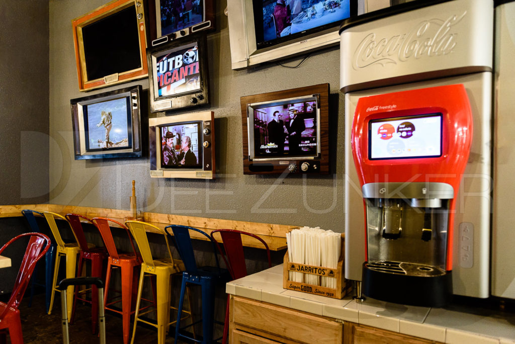 """La Calle Tacos """" The TV Wall """" photo by Houston Commercial Photographer Dee Zunker  La-Calle-Tacos-001.psd  Houston Commercial Architectural Photographer Dee Zunker"""